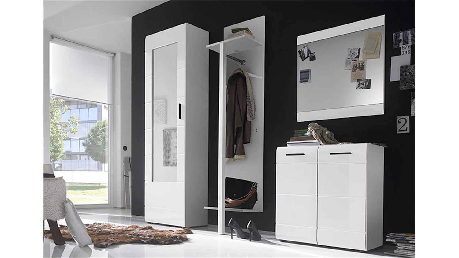 garderobe skin 4 teiliges set in wei hochglanz mit spiegel. Black Bedroom Furniture Sets. Home Design Ideas
