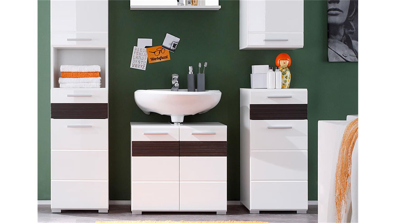 badezimmerset mezzo wei hochglanz melinga dark oak. Black Bedroom Furniture Sets. Home Design Ideas