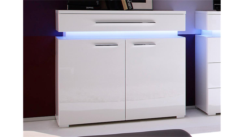 kommode i perth wei hochglanz tiefzieh mit rgb beleuchtung. Black Bedroom Furniture Sets. Home Design Ideas