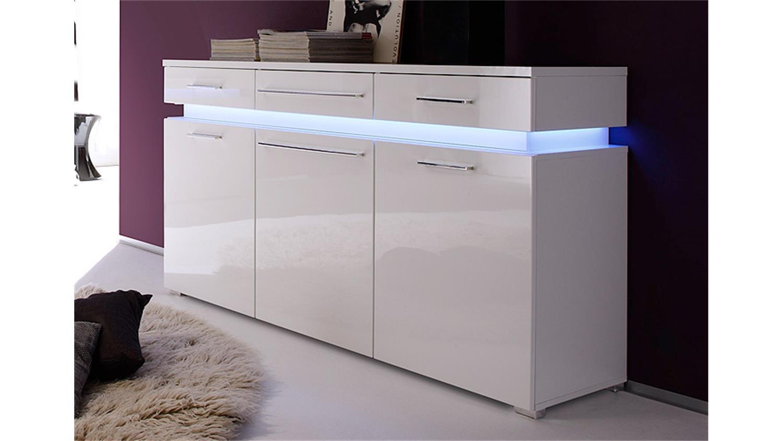 sideboard perth wei hochglanz tiefzieh mit rgb beleuchtung. Black Bedroom Furniture Sets. Home Design Ideas