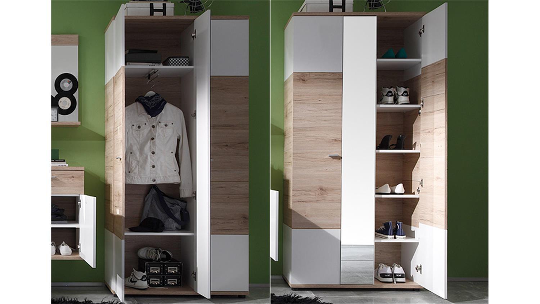garderobenschrank ii campus san remo eiche und wei. Black Bedroom Furniture Sets. Home Design Ideas