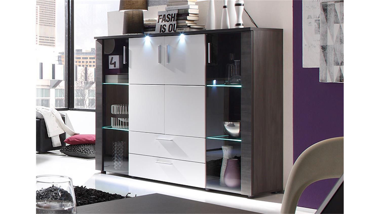 highboard xpress esche grau wei inkl beleuchtung. Black Bedroom Furniture Sets. Home Design Ideas