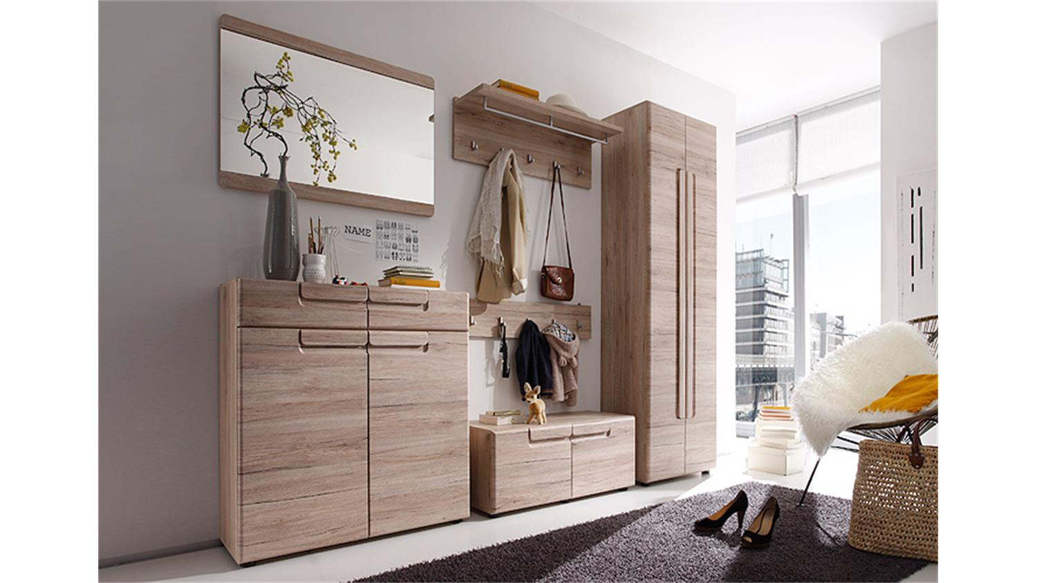 garderobenschrank malea san remo eiche hell tiefzieh. Black Bedroom Furniture Sets. Home Design Ideas