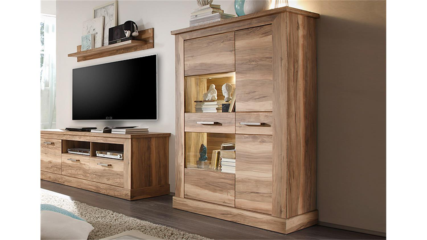 highboard 1 montreal schrank vitrine in nussbaum satin. Black Bedroom Furniture Sets. Home Design Ideas