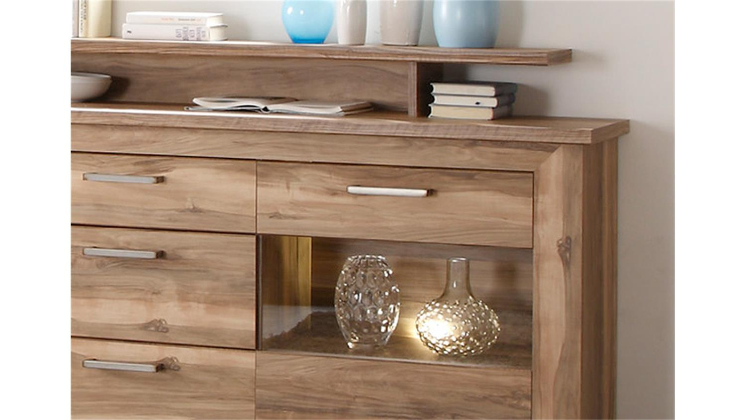 parisot kommode sideboard mit aufsatz alice 8 lisenenoptik wei smash. Black Bedroom Furniture Sets. Home Design Ideas