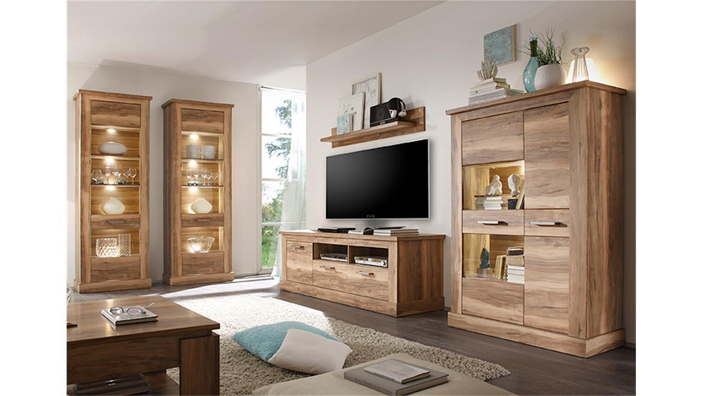 vitrine 1 montreal standvitrine glasvitrine nussbaum satin. Black Bedroom Furniture Sets. Home Design Ideas