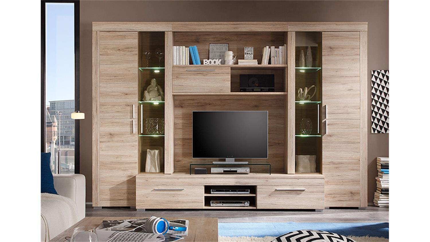 wohnwand boom sanremo eiche hell inkl beleuchtung. Black Bedroom Furniture Sets. Home Design Ideas