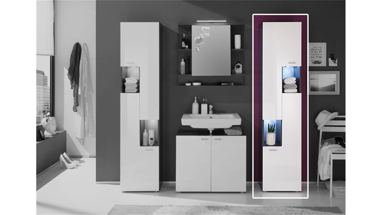 Hochschrank tetis graphit und wei hochglanz rechts for Komplette badezimmer angebote