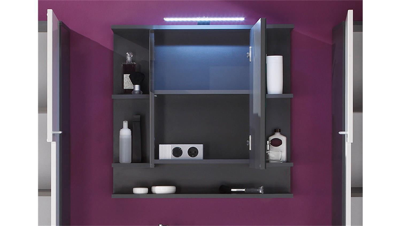 Spiegelschrank tetis schrank bad spiegel badm bel in graphit for Alibert spiegelschrank bad