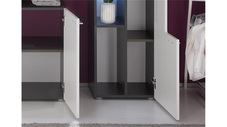 Badezimmer set tetis graphit und wei hochglanz 4 tlg for Komplette badezimmer angebote
