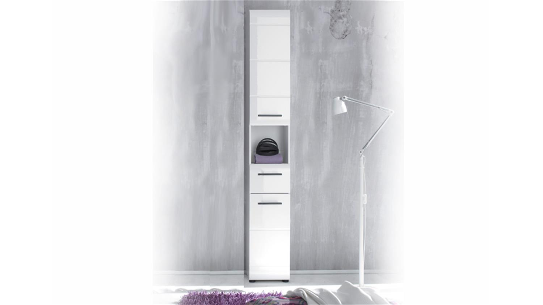 Bad hochschrank weiß hochglanz  Hochschrank 103 SKIN Front weiß hochglanz