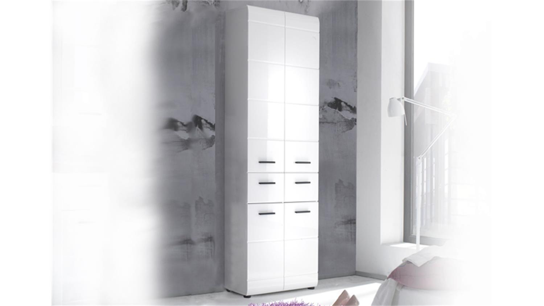Badschrank Hochschrank 105 SKIN Front weiß hochglanz 4-türig