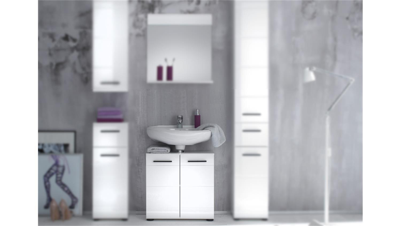 bad waschbeckenunterschrank skin front weiß hochglanz