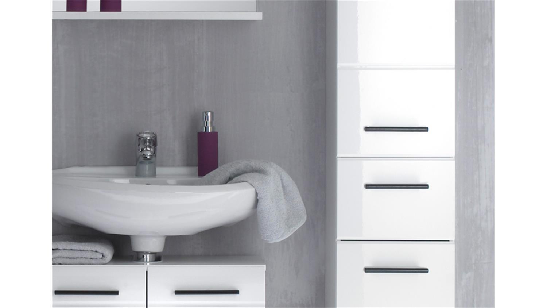 Badezimmer SKIN Badmöbel Set 1 Front Weiß Hochglanz 5 Teilig