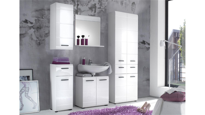Badezimmermöbel set weiß hochglanz  SKIN Badmöbel Set 3 Front weiß Hochglanz 5-teilig