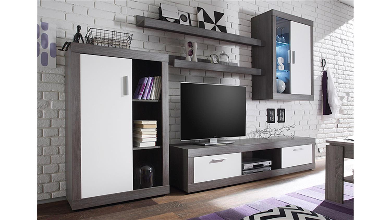 wohnwand ocean in rauchsilber und wei mit led beleuchtung. Black Bedroom Furniture Sets. Home Design Ideas