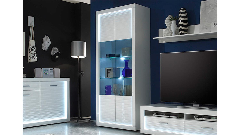 vitrine 2 starlight wei hochglanz rillenoptik inkl led. Black Bedroom Furniture Sets. Home Design Ideas