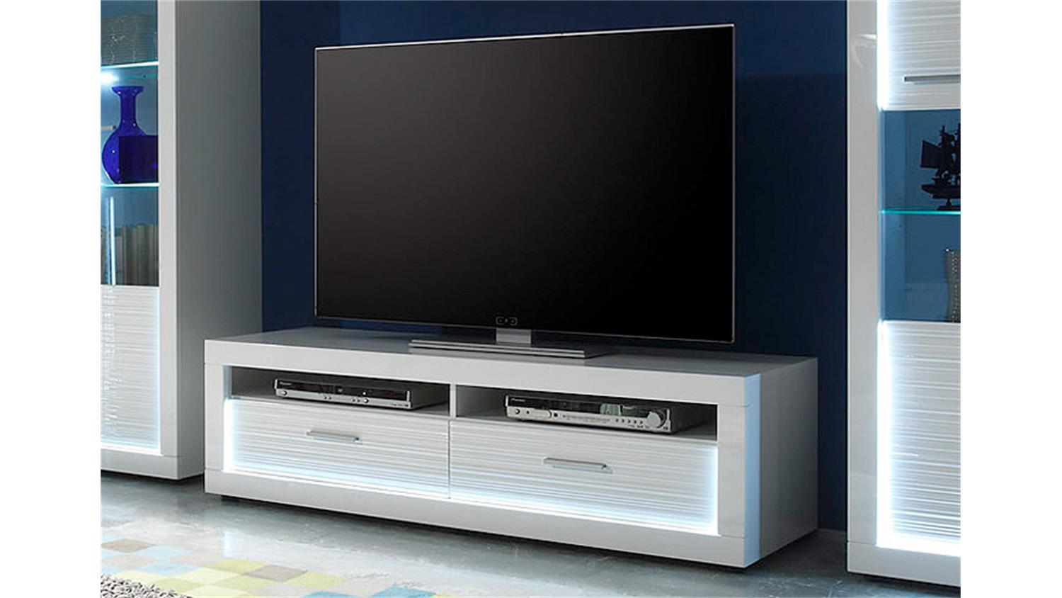 tv board 1 starlight wei hochglanz rillenoptik inkl led. Black Bedroom Furniture Sets. Home Design Ideas