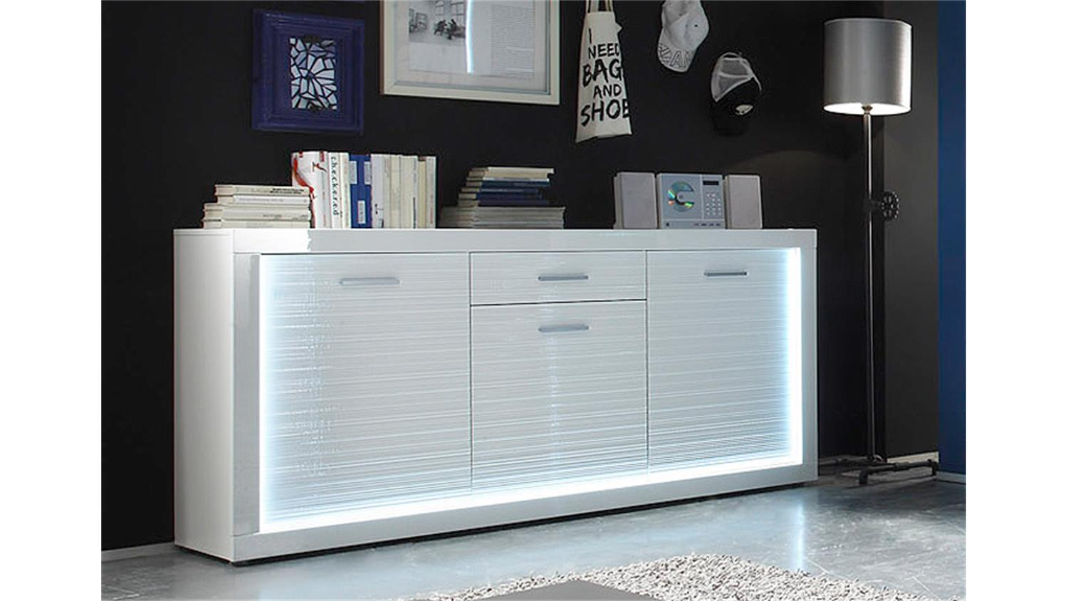 sideboard starlight wei hochglanz rillenoptik inkl led. Black Bedroom Furniture Sets. Home Design Ideas
