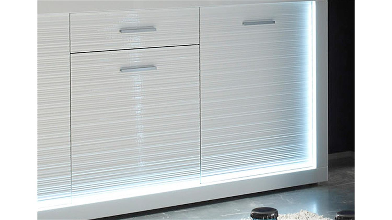 Sideboard weiß hochglanz led  STARLIGHT weiß Hochglanz Rillenoptik inkl. LED