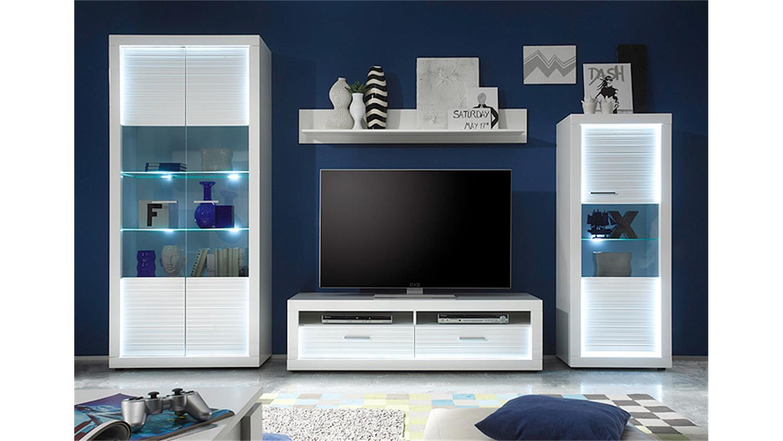 wohnwand 1 starlight wei hochglanz rillenoptik inkl led. Black Bedroom Furniture Sets. Home Design Ideas