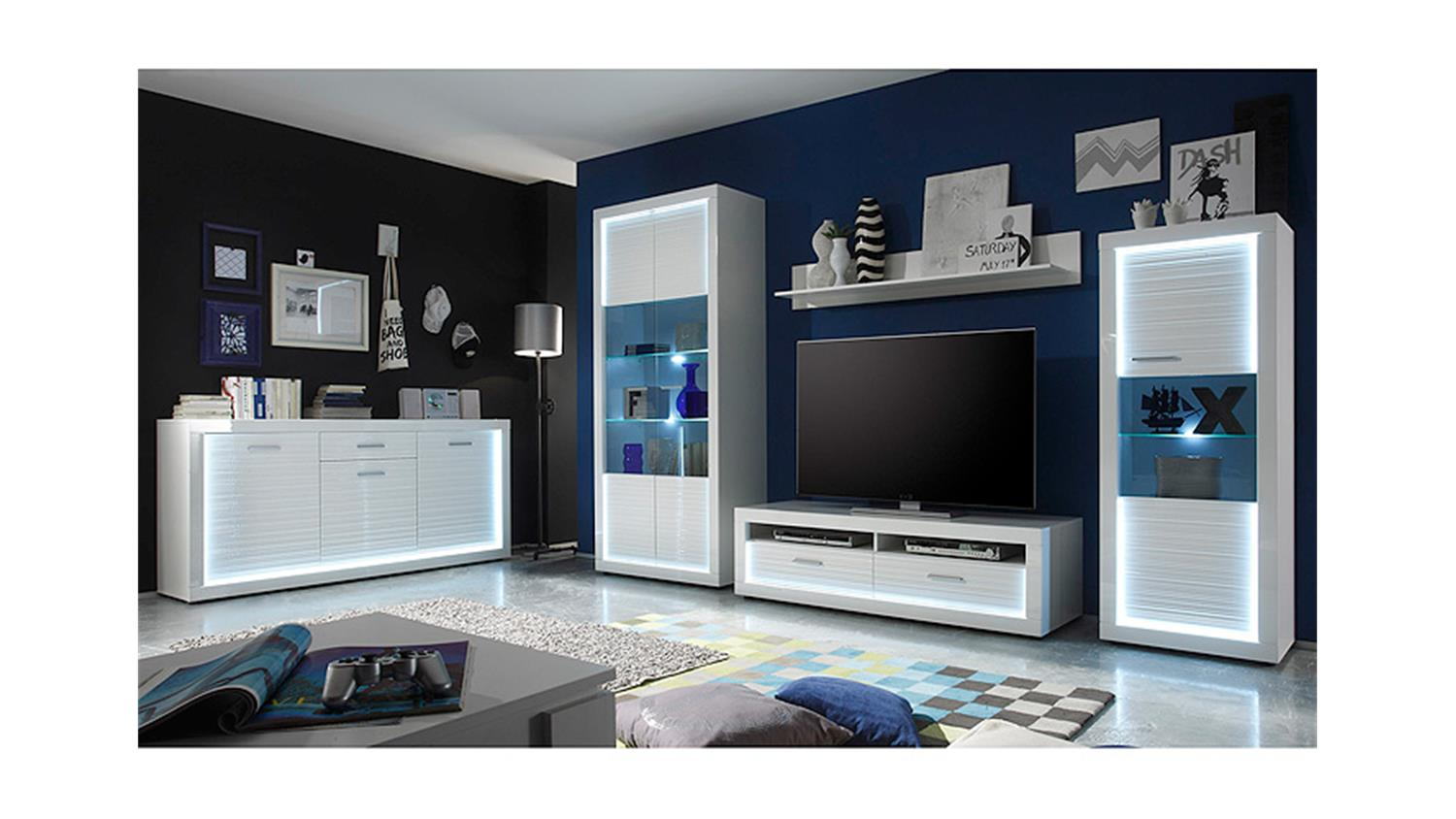 wohnwand 1 starlight wei hochglanz rillenoptik inkl led. Black Bedroom Furniture Sets. Home Design Ideas