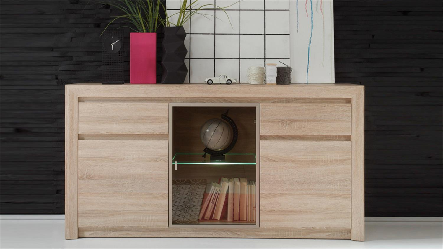 Sideboard Ralva Sonoma Eiche Hell Glas Bronze Inkl Led