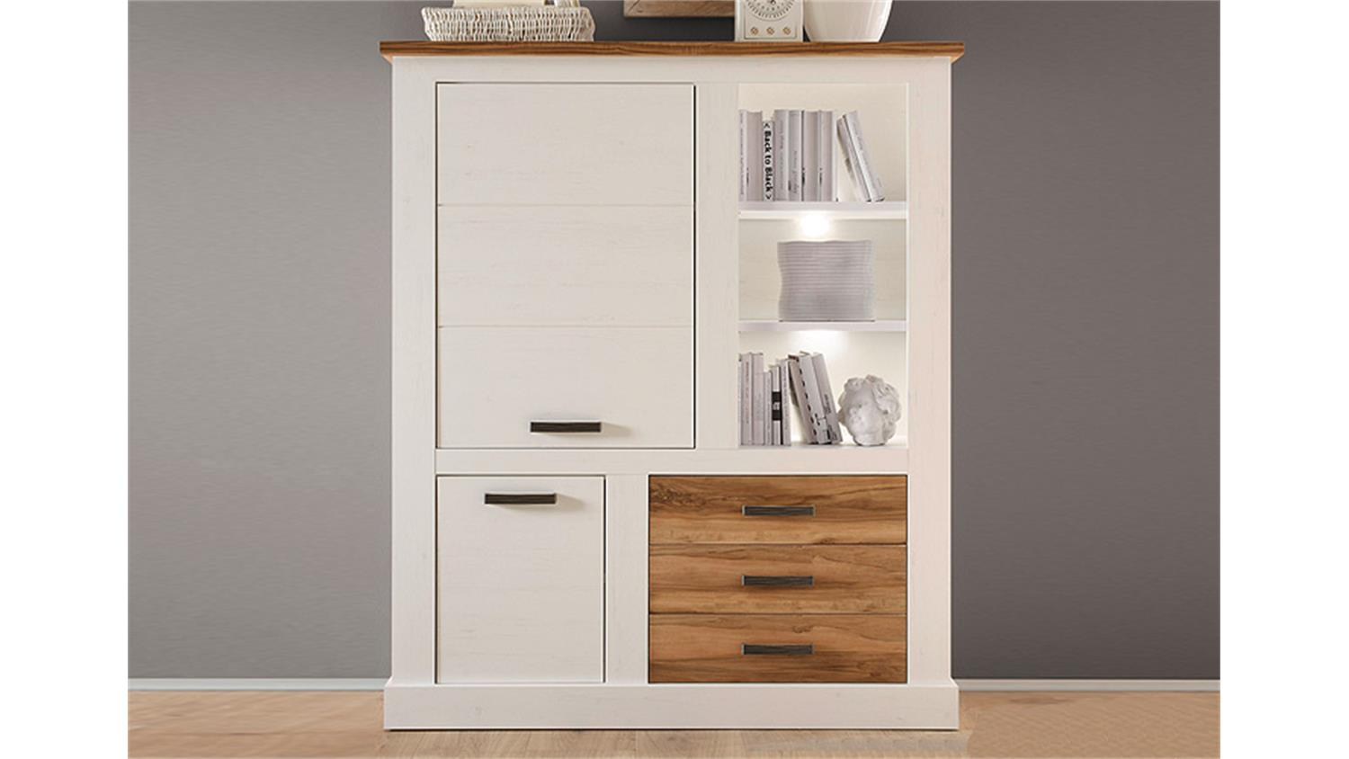 highboard 1 toronto anderson pinie hell satin nussbaum. Black Bedroom Furniture Sets. Home Design Ideas