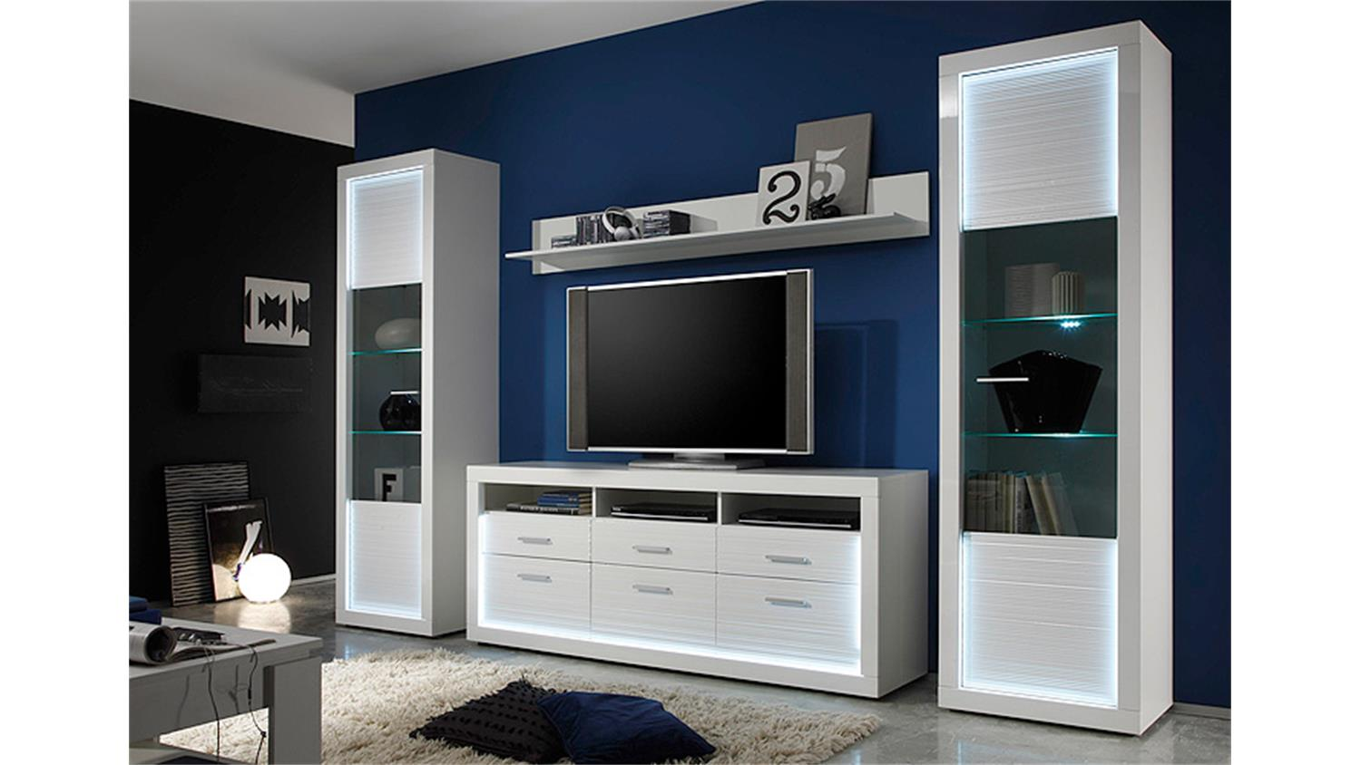 tv board 2 starlight wei hochglanz rillenoptik inkl led. Black Bedroom Furniture Sets. Home Design Ideas