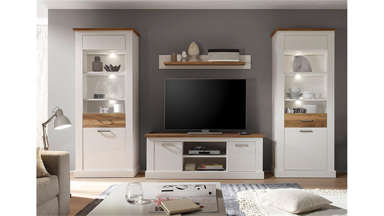 wohnwand toronto anderson pinie hell satin nussbaum. Black Bedroom Furniture Sets. Home Design Ideas