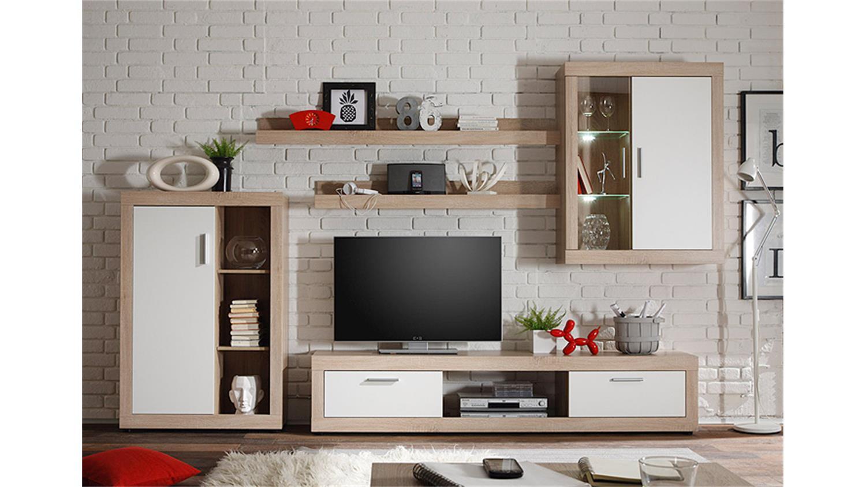 wohnwand 1 ocean sonoma eiche und wei inkl beleuchtung. Black Bedroom Furniture Sets. Home Design Ideas