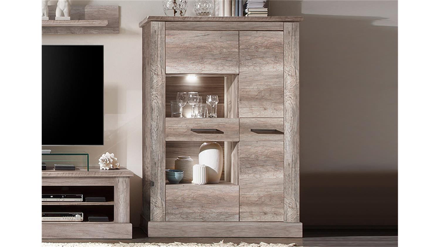 highboard montreal standvitrine in canyon monument oak. Black Bedroom Furniture Sets. Home Design Ideas