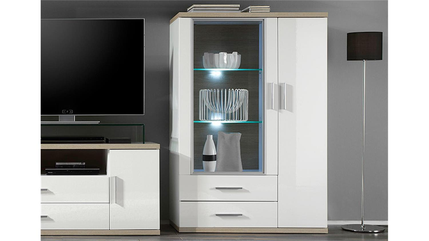highboard 1 arena wei hochglanz eiche s gerau inkl led. Black Bedroom Furniture Sets. Home Design Ideas