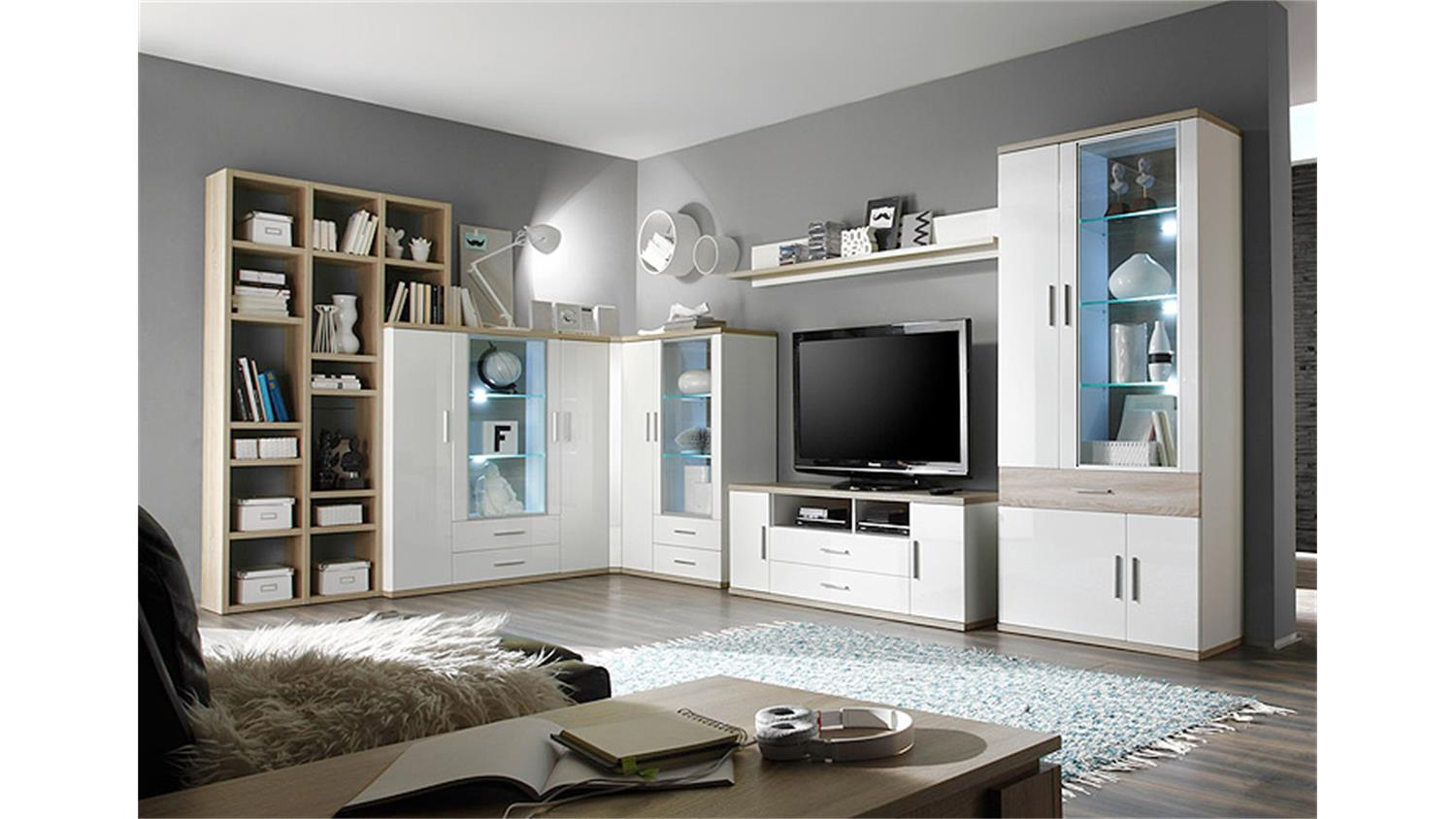 highboard 2 arena wei hochglanz eiche s gerau inkl led. Black Bedroom Furniture Sets. Home Design Ideas
