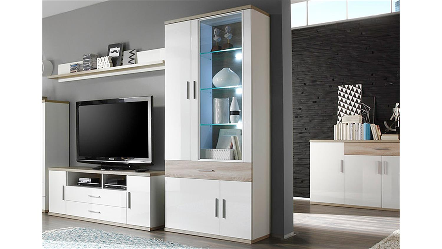 vitrine arena wei hochglanz eiche s gerau inkl led. Black Bedroom Furniture Sets. Home Design Ideas