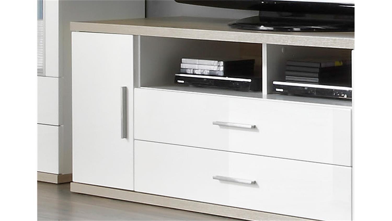 tv board 1 arena in wei hochglanz und eiche s gerau. Black Bedroom Furniture Sets. Home Design Ideas