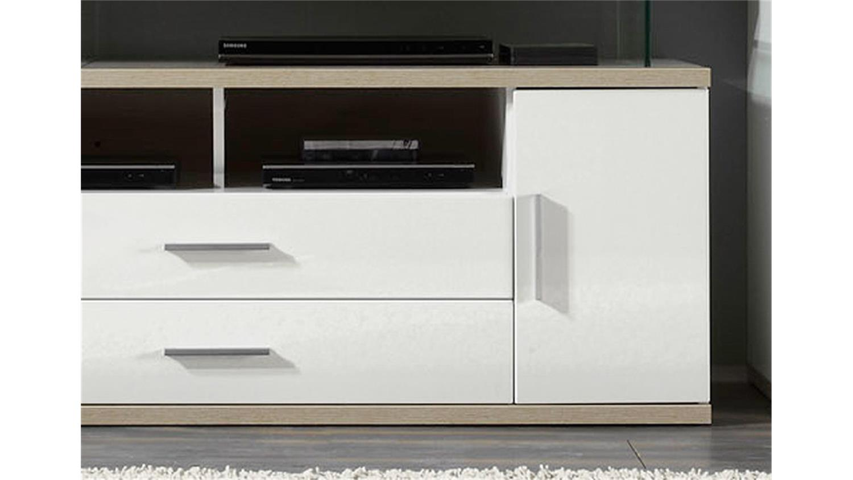 tv board 2 arena in wei hochglanz und eiche s gerau. Black Bedroom Furniture Sets. Home Design Ideas