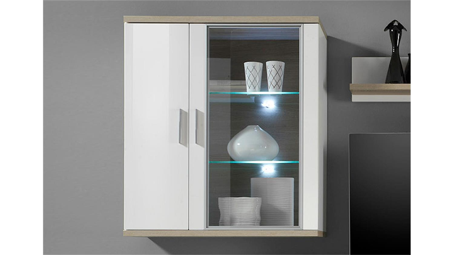 h ngevitrine arena wei hochglanz eiche s gerau inkl led. Black Bedroom Furniture Sets. Home Design Ideas