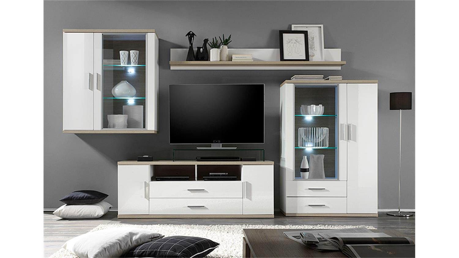 wohnwand 1 arena wei hochglanz eiche s gerau inkl led. Black Bedroom Furniture Sets. Home Design Ideas
