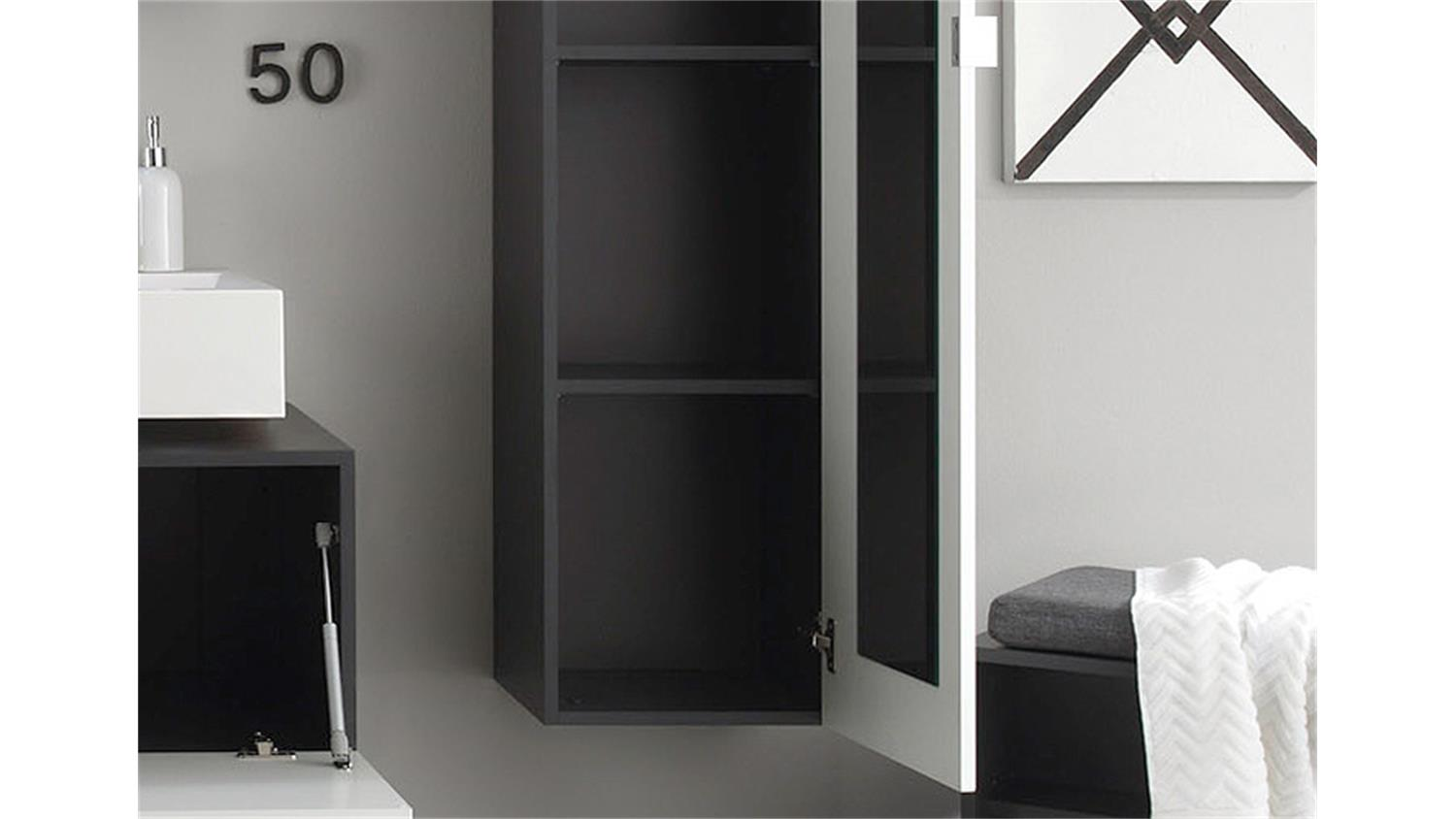 hochschrank beach badm bel wei hochglanz tiefzieh grau. Black Bedroom Furniture Sets. Home Design Ideas
