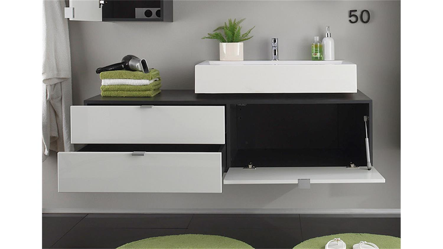unterschrank beach badm bel wei hochglanz grau mit becken. Black Bedroom Furniture Sets. Home Design Ideas