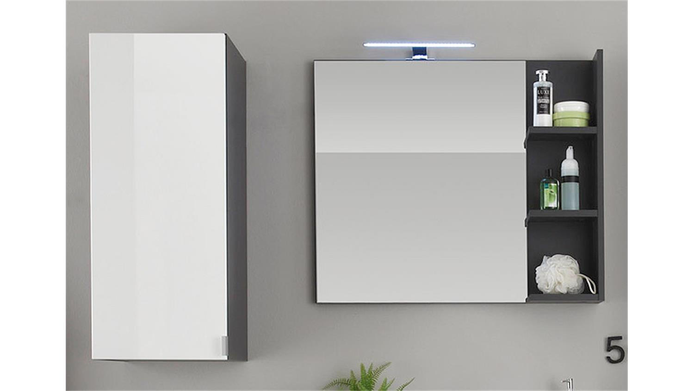 Badezimmer Set BEACH weiß Hochglanz grau mit Waschbecken