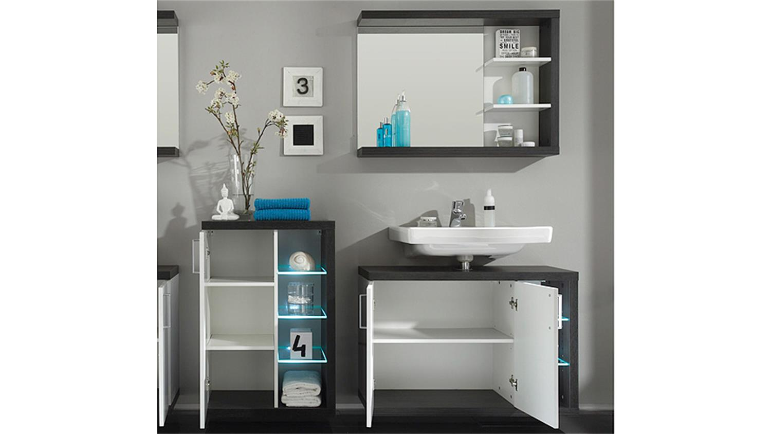 badezimmer set 2 sunrise sardegna rauchsilber wei hg. Black Bedroom Furniture Sets. Home Design Ideas