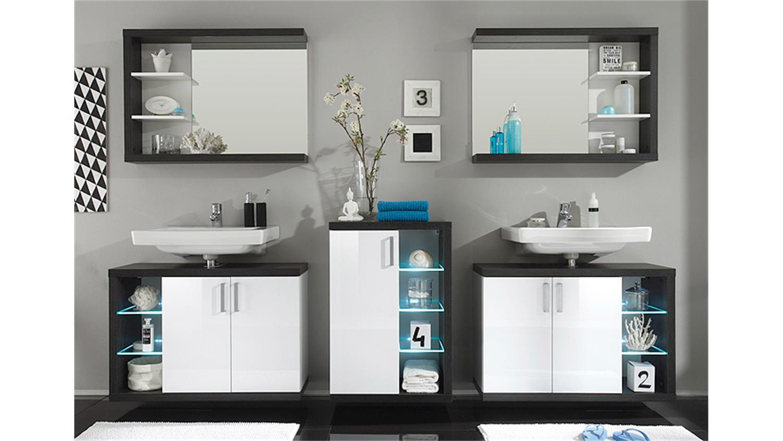 badezimmer set 2 sunrise sardegna rauchsilber wei hg. Black Bedroom Furniture Sets. Home Design Ideas