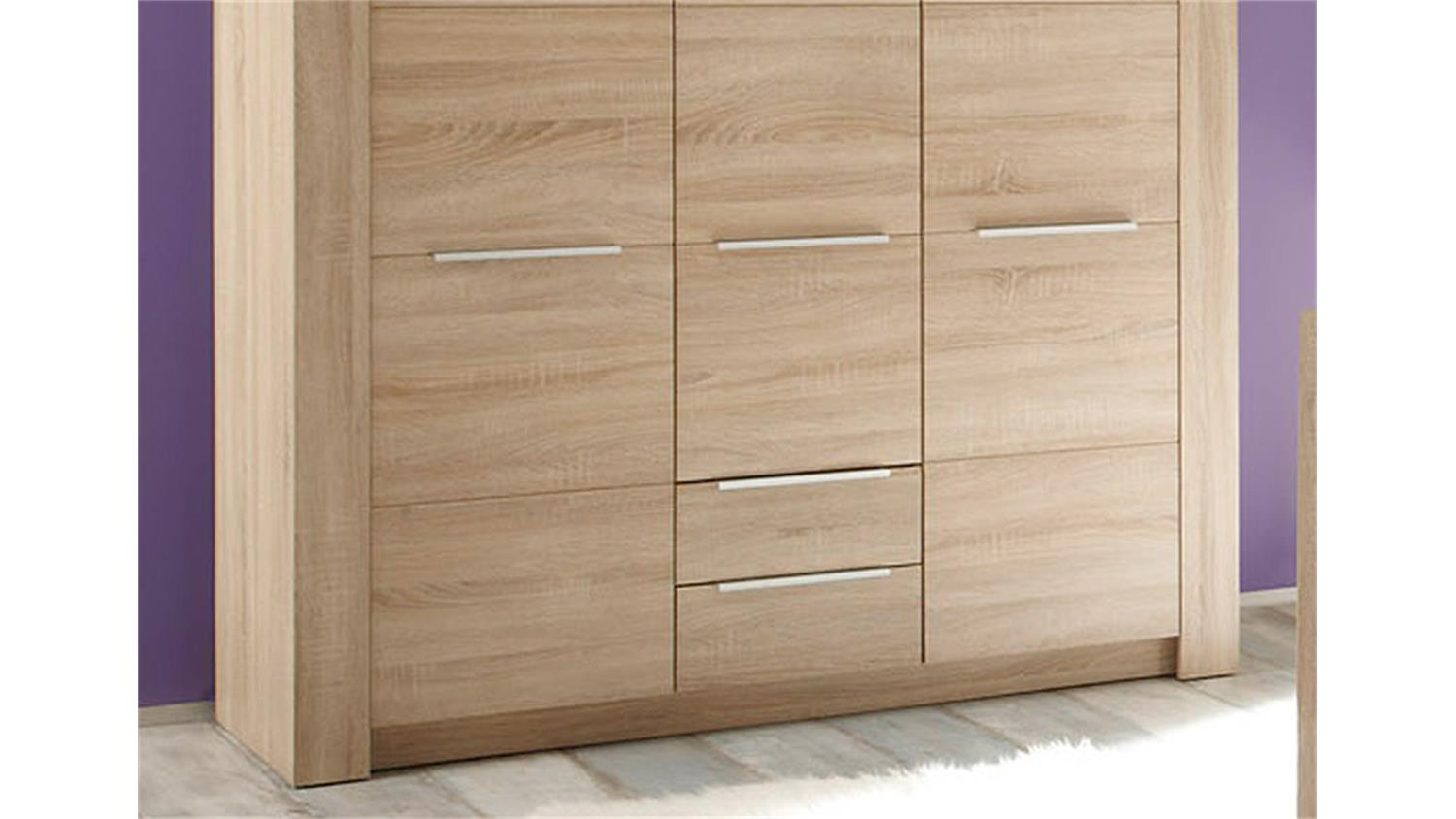 kleiderschrank carlotta in eiche s gerau hell 3 t rig. Black Bedroom Furniture Sets. Home Design Ideas