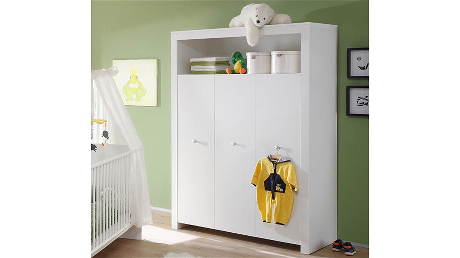kleiderschrank babyzimmer olivia schrank in wei 3 t rig 130 cm. Black Bedroom Furniture Sets. Home Design Ideas