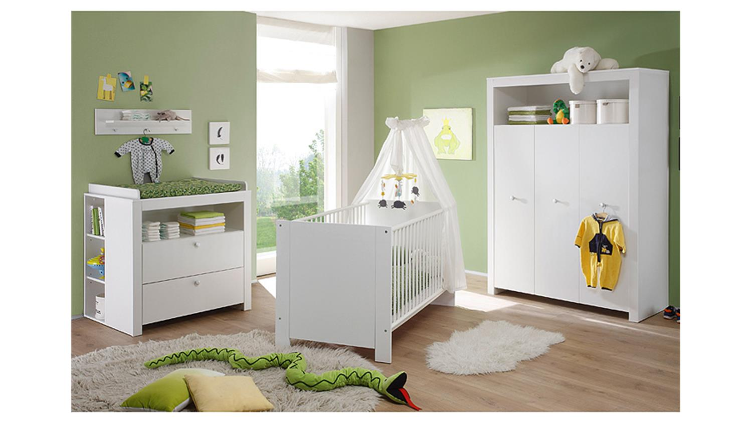 Babyzimmer set olivia kinderzimmer in wei 3 teilig for Komplett kinderzimmer