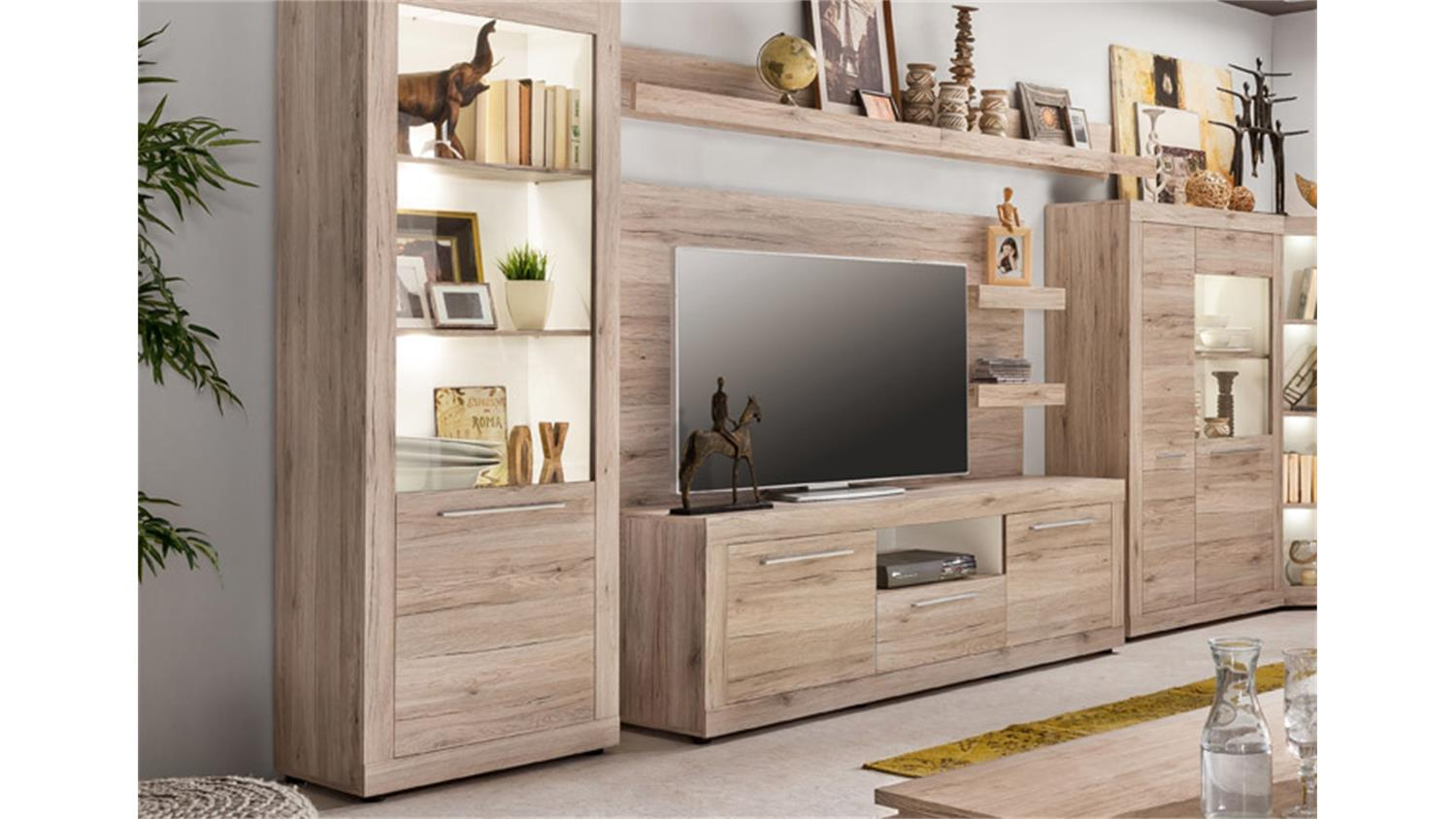 stauraumvitrine passat 2 t rige vitrine in eiche dekor mit glas. Black Bedroom Furniture Sets. Home Design Ideas