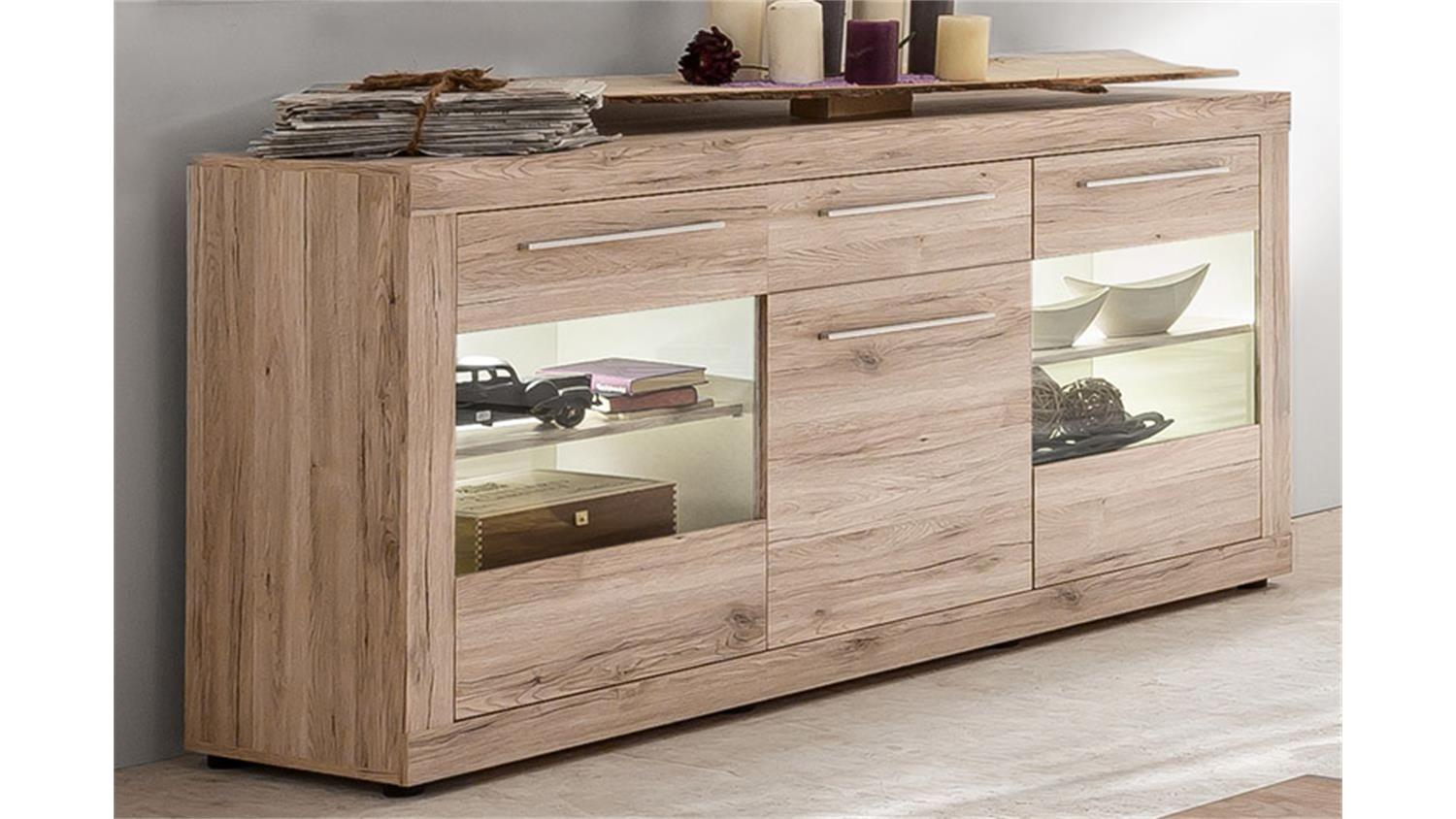 sideboard passat schrank vitrine eiche sand mit glast ren. Black Bedroom Furniture Sets. Home Design Ideas