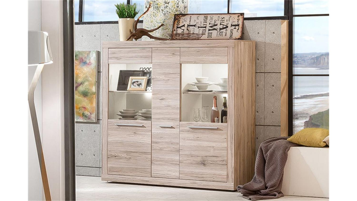 highboard passat schrank vitrine eiche sand mit glast ren. Black Bedroom Furniture Sets. Home Design Ideas
